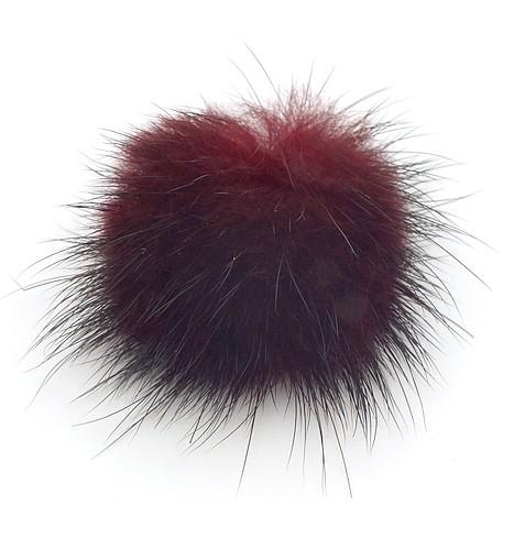 Fellpuschel ca. 25 - 30mm schwarz-rot