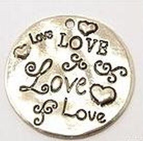 Metallanhänger Love ca. 32mm altsilberfarben