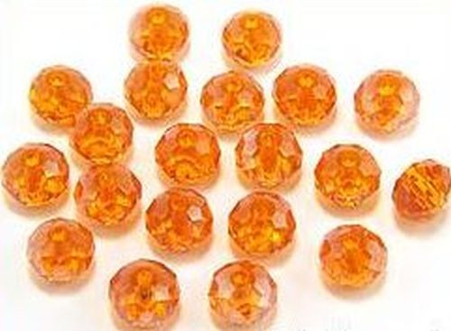 Glasschliff-Rondelle ca. 6 x 8mm # 09 orange AB