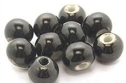 Keramikperlen ca. 8mm schwarz