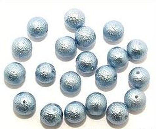 Glas-Kreppperlen ca. 10mm graublau 20Stk