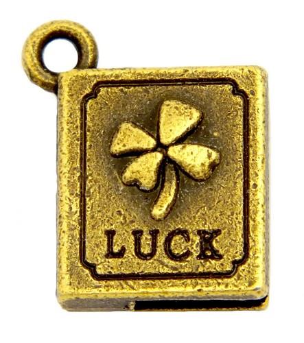 """Metallanhänger Buch """"Luck"""" ca. 17 x 13 mm antikfarben 1Stk"""