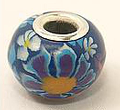 Wechselperle Fimo mit Blume ca. 16mm blau