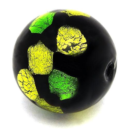 Silverfoilperle Dragonball ca. 19mm hellgün-grün gepunktet