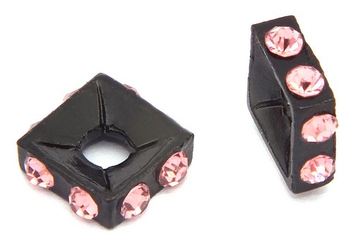 Strassquadrate black enamel light rose ca. 7,6 mm