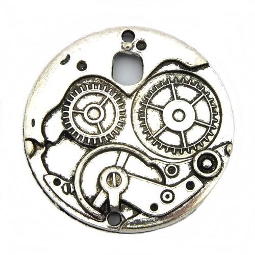 Steampunk Zahnrad Uhrwerk GROSS ca. 38 x 4mm silberfarben