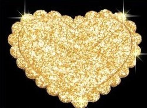 Glitzerflicken 37x30mm goldfarben