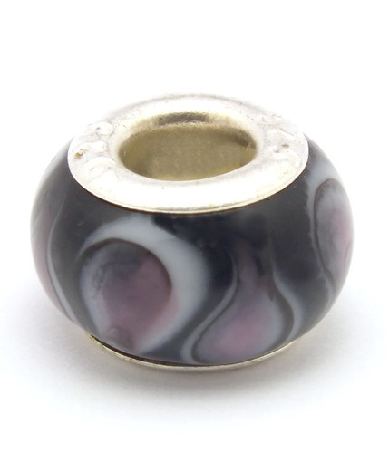 Wechselperle S5 ca. 13mm schwarz lila 1Stk