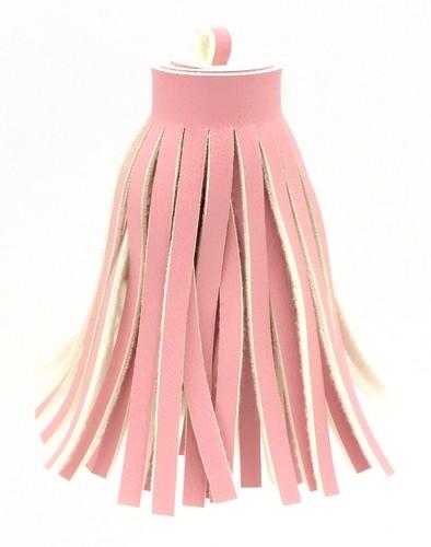 Quaste GROSS aus Kunstleder ca 69 x 18mm pink