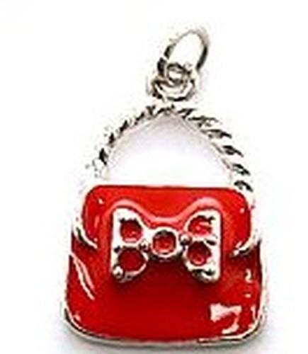 Metall-Anhänger Handtäschchen ca. 18x28mm rot 1Stk