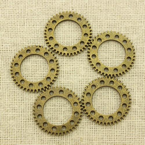Steampunk Zahnräder Clockwork ca. 25x25x2mm antikfarben 5Stk