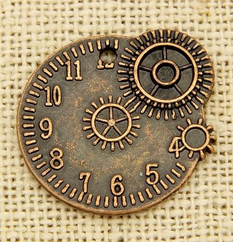Steampunk Timegear ca. 20 x 23mm kupferfarben