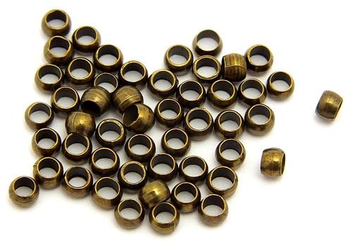 große Quetschperlen ca. 3mm antikfarben 50Stk