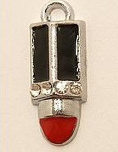 Metall-Anhänger Lippenstift ca. 20 x 9mm rot/schwarz 1Stk