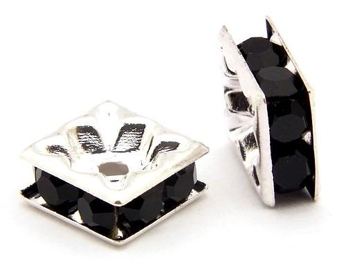 Strassquadrate ca. 8 x 8mm silberfarben-schwarz