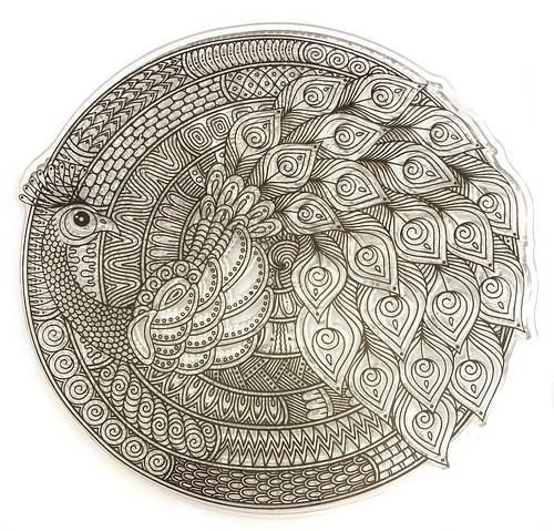 Stempel Mandala Pfau ca. 10 cm 1Stk