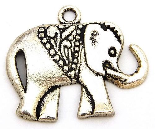 Metallanhänger Elefant RANI ca. 25 x 21mm silberfarben 1Stk