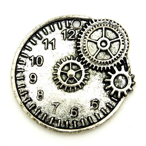 Steampunk Timegear ca. 32 x 35mm silberfarben