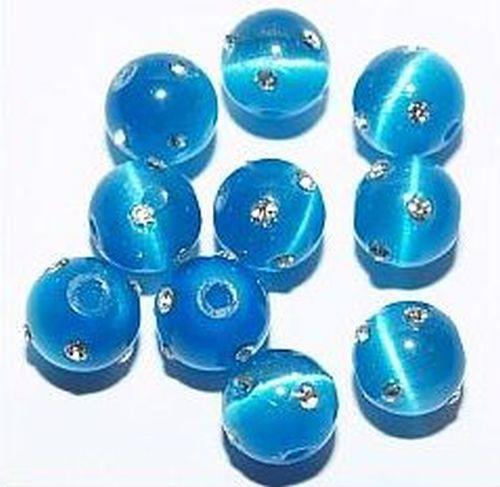 Cateyekugeln mit Strass ca. 8mm (Nr. dx27) blau