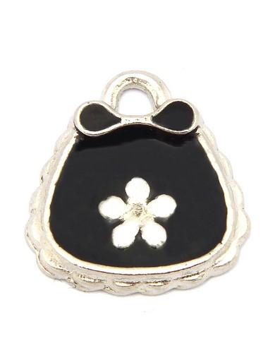 Metallanhänger Täschchen mit Blume ca. 14x13mm schwarz