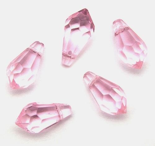 Facettierte Glastropfen ca. 15 x 7mm rosa 5Stk