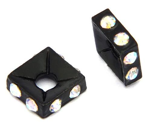 Strassquadrate black enamel crystal AB ca. 7,6 mm