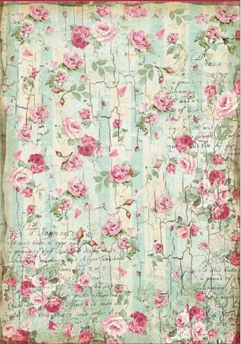 Stamperia Rice Papier Small Roses and Writings Texture A4 1 Bogen