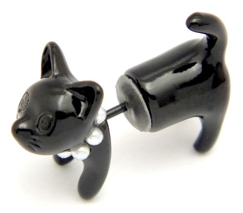 """Ohrring Katze """"Kitty"""" zweiteilig schwarz 20mm 1Stk"""