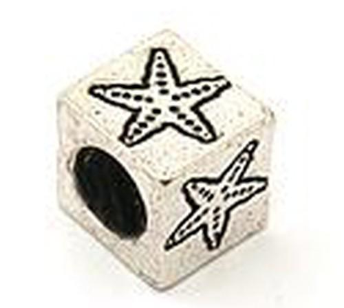 Wechselperle Würfel Stern ca. 8 x 8 x 8mm silberfarben 1Stk