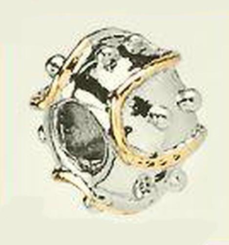 Wechselperle Turban ca. 13 x 8mm silber-goldfarben