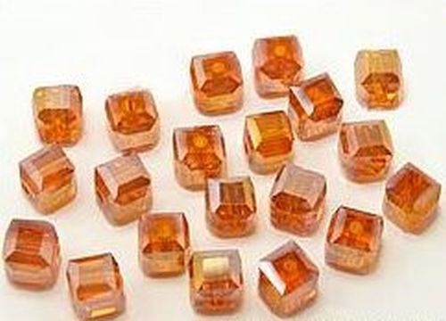 Glaswürfel ca. 5 x 5mm #9 orange AB 20Stk