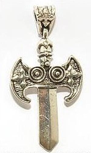 Metallanhänger Schwert ca. 32 x 63mm altsilberfarben 1Stk