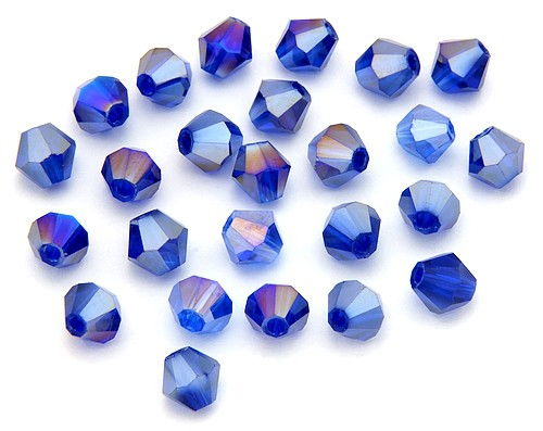 Bicone Glasschliffperlen ca. 6mm tintenblau AB