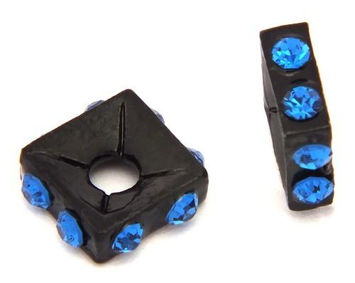 Strassquadrate black enamel saphire ca. 7,6 mm 10Stk