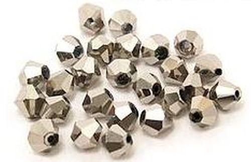 Bicone Glasschliffperlen ca. 6mm #37 silberfarben 25Stk
