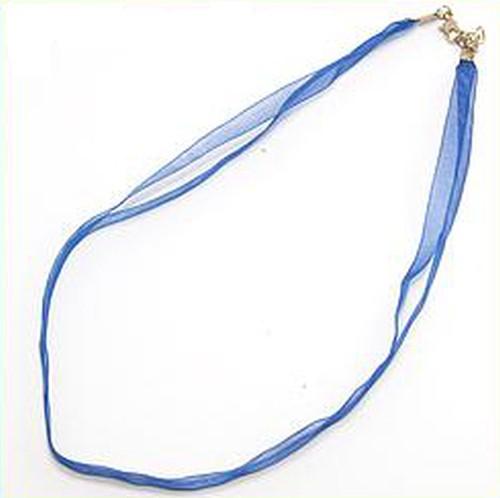 Kette aus Organza ca. 47cm lang ca. 7mm breit blau