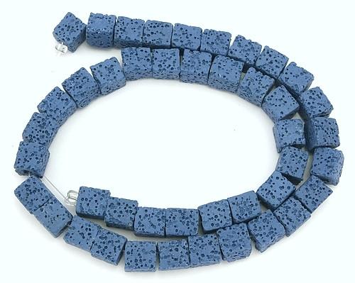 Strang Lava-Würfel (ca. 43 Stück) ca. 8mm blau 1Stk