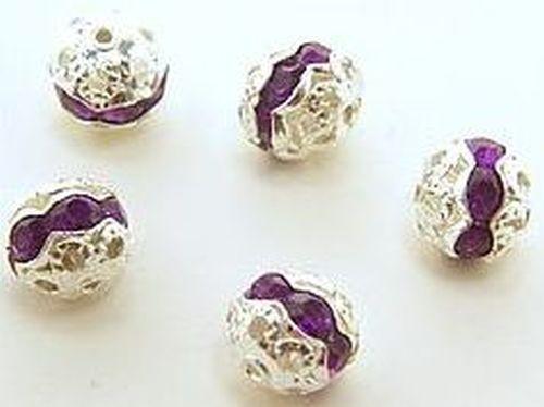 Strasskugeln lila ca. 7x8mm (Aluminium / Acryl)