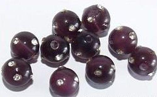 Cateyekugeln mit Strass ca. 8mm (Nr.dx10) violett