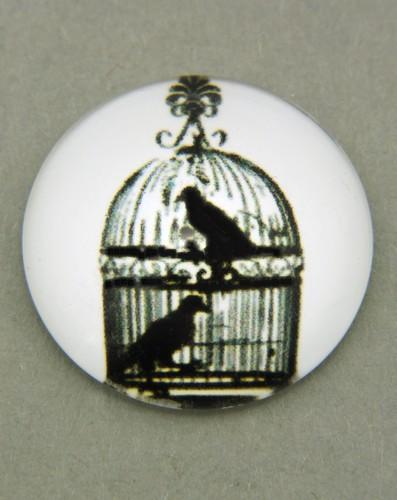 schwarz-weiß Cabochon Käfig I ca. 20mm