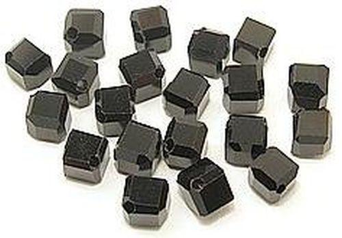 Glaswürfel diagonal gebohrt ca. 6x6mm #02 schwarz