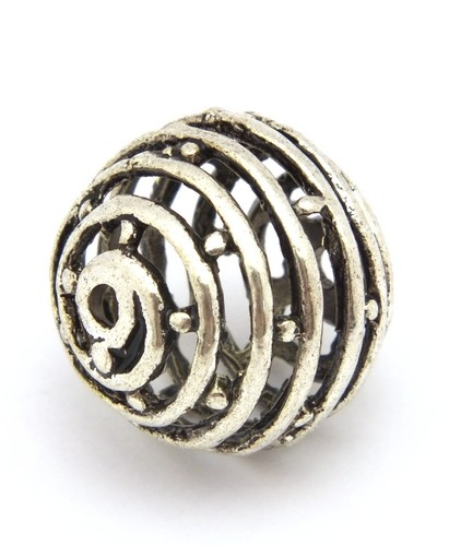 filigrane Metallkugel Spirale ca. 18mm altsilberfarben