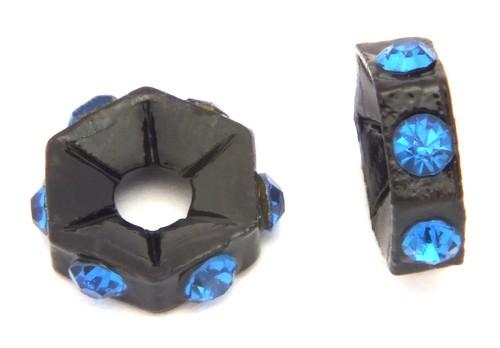Strassrondelle black enamel saphire ca. 7,6 mm