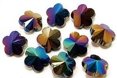 Blütenperlen ca. 14 x 14 x 8mm #02 dunkelbunt AB 10Stk