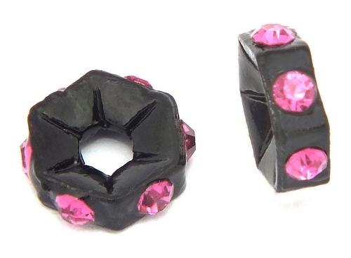 Bild: strassrondelle black enamel fuchsia