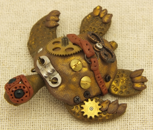 Steampunk Kette, Schildkröte aus Steamclay